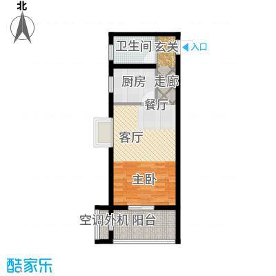 甲壳虫公寓49.12㎡B户型 1室1厅1卫1厨户型