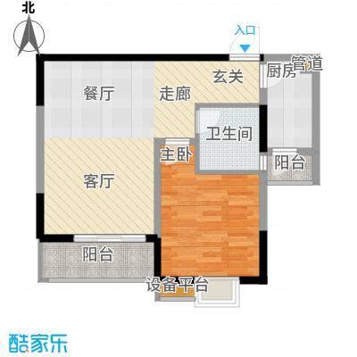 三和悦城一房两厅一卫面积为66.97平米户型