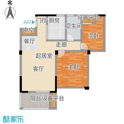 凤凰明珠87.00㎡高层C户型2室2厅1卫
