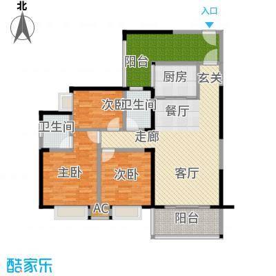 荣顾购物公园114.00㎡公寓户型图户型3室2厅2卫LL