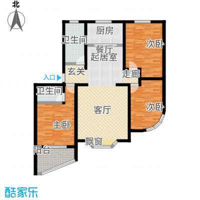 莲花山庄C户型三室两厅两卫户型3室2厅2卫