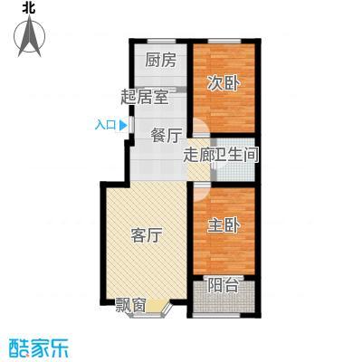 莲花山庄B户型两室两厅一卫户型2室2厅1卫