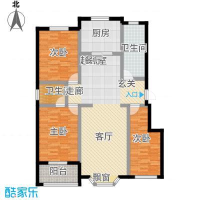 莲花山庄A户型三室两厅两卫户型3室2厅2卫