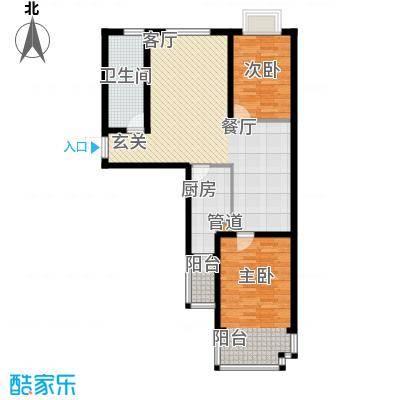 嵛景华城90.29㎡42和43号楼D户型2室2厅1卫