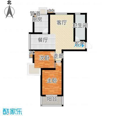 嵛景华城87.35㎡42和43号楼A户型2室2厅1卫