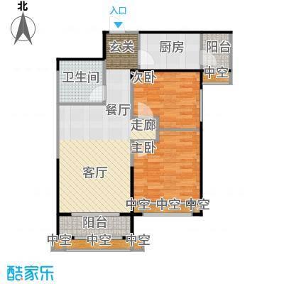 天津碧桂园87.00㎡J456C户型2室2厅1卫