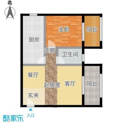 乐府国际公寓76.68㎡C1双阳台户型1室2厅1卫