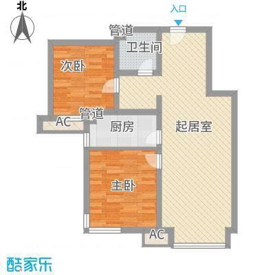 万科新里程85.00㎡B1温馨两居户型 两室两厅一卫户型