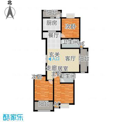 汇博阳光水岸149.00㎡8号楼A 三室两厅两卫户型3室2厅2卫