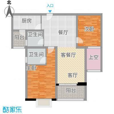 世茂外滩新城110.00㎡15号楼户型2室1厅2卫1厨