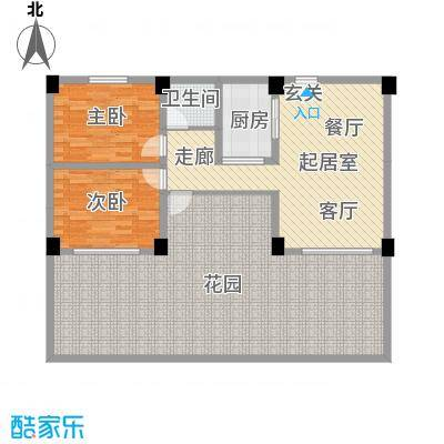 张家围17号花园两房两厅一卫83.19平米户型