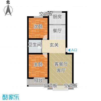 徐水幸福家园100.00㎡两室两厅一卫户型2室2厅1卫