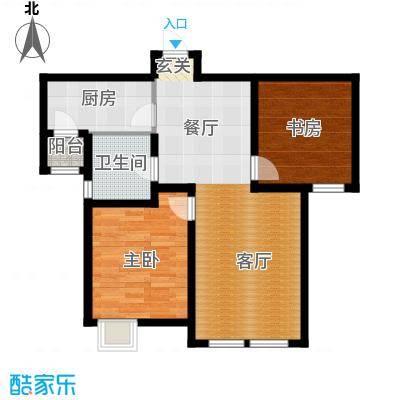 金泰丽湾嘉园87.61㎡B1户型二室二厅一卫户型2室2厅1卫