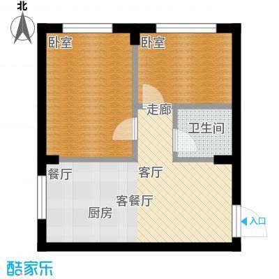 柒零捌零城仕公馆B9使用面积45平米户型2室2厅1卫