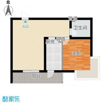 富水一方79.09㎡一室二厅一卫户型