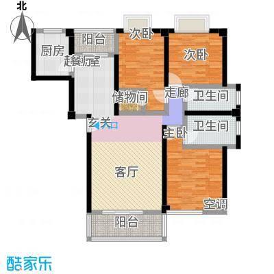 龙泉华庭114.20㎡B5 三房两厅两卫户型