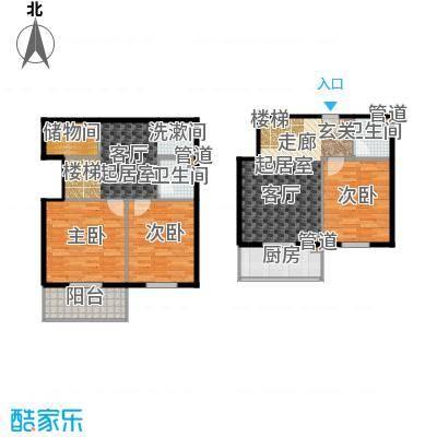 尚东国际城70.77㎡在售8号楼类别墅小复式户型 挑高5.4米 买一层送一层 准现房户型