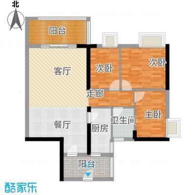 珠江嘉园90.00㎡10栋A梯06单元户型3室1卫1厨
