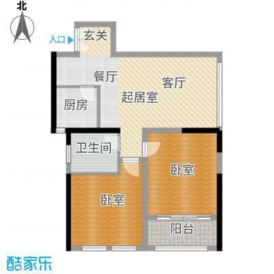 晓庄国际广场82.03㎡B户型1卫1厨