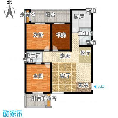 甲壳虫公寓130.52㎡A户型 3室2厅2卫1厨户型