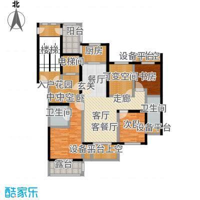 大港御景新城134.45㎡高层C2-a奇数层户型3室2厅2卫
