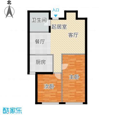 融创星美御93.38㎡1号楼B户型 2室2厅1卫户型