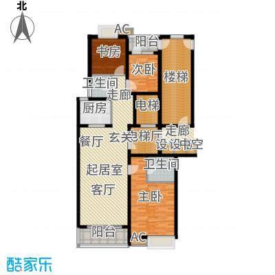 鲁商中心145.00㎡2号楼B户型三室两厅两卫户型3室2厅2卫