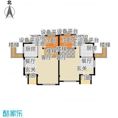 碧桂园温泉城101.55㎡双拼H24-c一层 四房二厅三卫户型