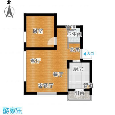 阳光100时光里二期60.00㎡A一室二厅一卫户型1室2厅1卫