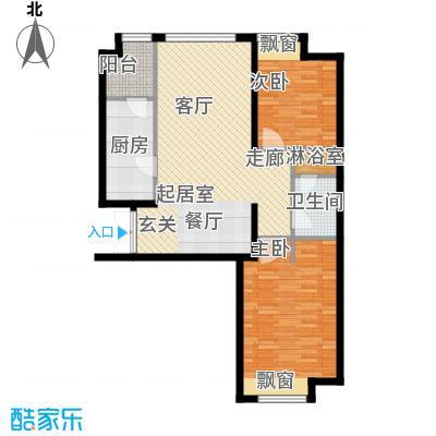 天津富力桃园2号楼03户型2室2厅1卫