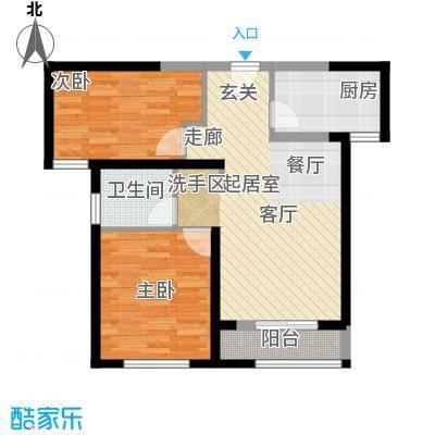 宜禾红橡公园82.00㎡高层HN1户型2室2厅1卫