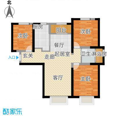 宜禾红橡公园113.00㎡高层HM4户型3室2厅1卫