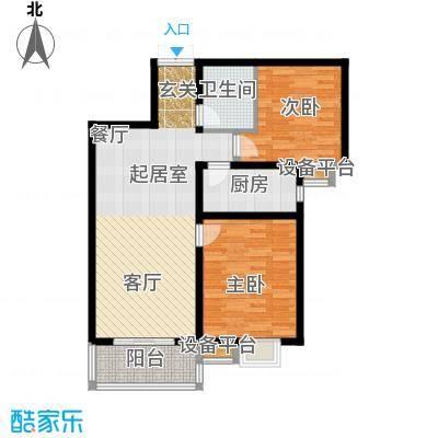 广厦水岸东方88.00㎡A1户型2室2厅1卫
