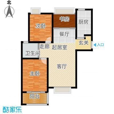海信・慧园93.00㎡C2户型 三室两厅一卫户型3室2厅1卫