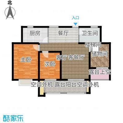 翰林世家12号楼E2-2偶数层户型2室1厅1卫1厨