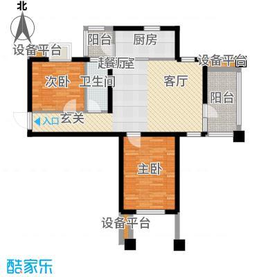 阳光新业国际90.00㎡C2二室一厅一卫户型