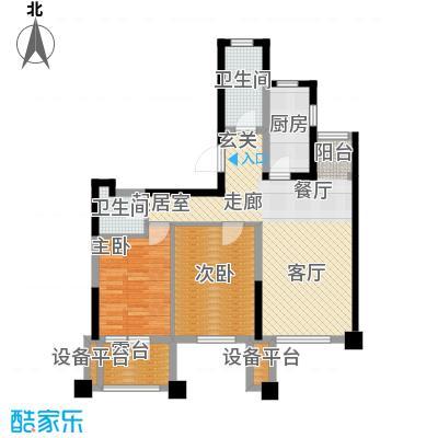 阳光新业国际92.00㎡D1二室二厅二卫户型