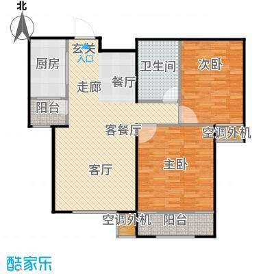 丽景蓝湾C区99.55㎡A2户型两室两厅一卫户型2室2厅1卫