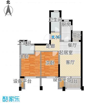 阳光新业国际92.00㎡D2二室二厅二卫户型