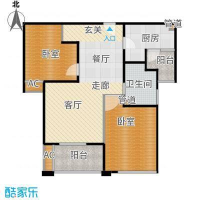 招商南桥1号83.00㎡A5 两室两厅一卫户型