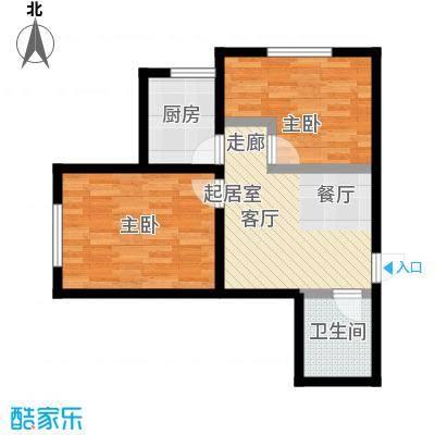 阳光绿城54.57㎡D户型两室一厅一卫户型2室1厅1卫