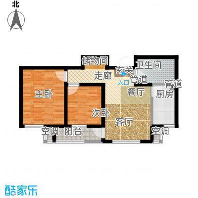 海泰海港花园84.39㎡11层小高层 02户型2室2厅1卫