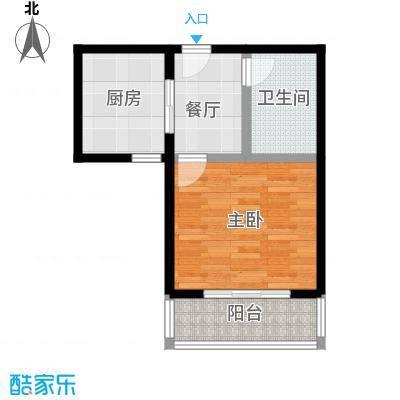 吉隆公寓43.13㎡D一室一厅一卫户型1室1厅1卫