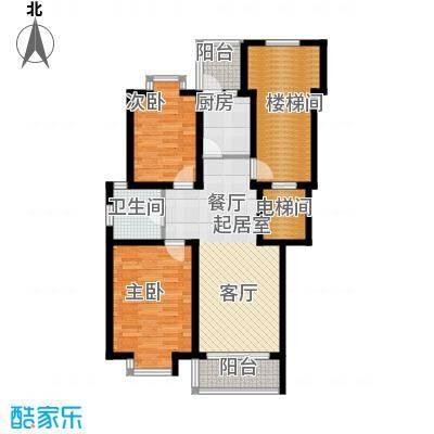 珑�庭91.36㎡J户型2室1卫1厨