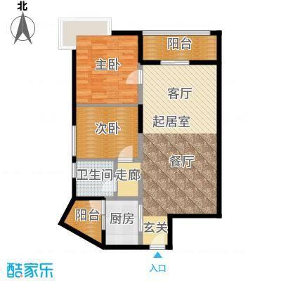 方圆江湾水恋88.00㎡CD户型2室1卫1厨