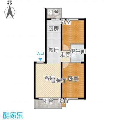 柒零捌零城仕公馆B8户型使用面积约59平米户型2室2厅1卫