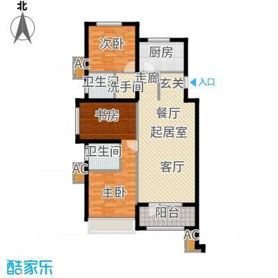 金地长青湾125.00㎡三室两厅两卫户型3室2厅2卫QQ