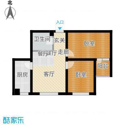 柒零捌零城仕公馆B4 2室2厅1卫使用面积51平米户型2室2厅1卫