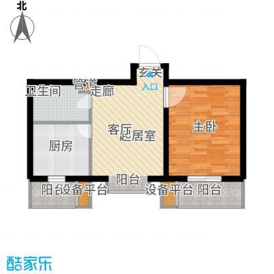 九通家园二期一室一厅一卫-59.37平米户型