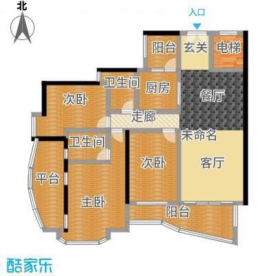 中海金沙熙岸149.00㎡悦江大宅房2阳台户型3室2卫1厨